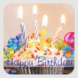 Happy Birthday Cupcake with Candles Stickers