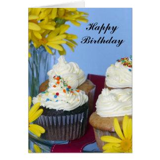 Happy Birthday cupcakes & flowers Greeting Card