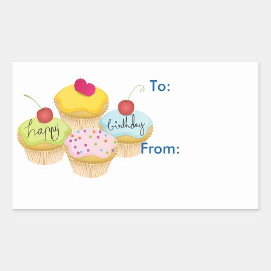 Happy Birthday Cupcakes Gift Tag Stickers Zazzle Co Uk