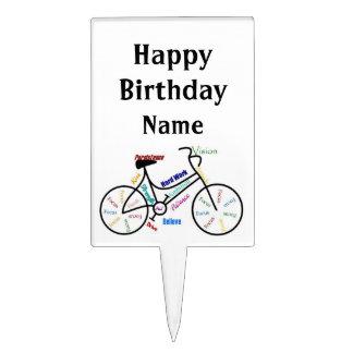 Happy Birthday Custom Name Bike, Cycle Sport Cake Pick