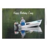 Happy Birthday Custom Name Fishing on Lake in Boat Greeting Card