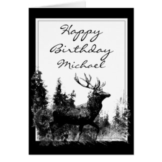 Happy Birthday Custom Name Vintage Stag, Deer Card