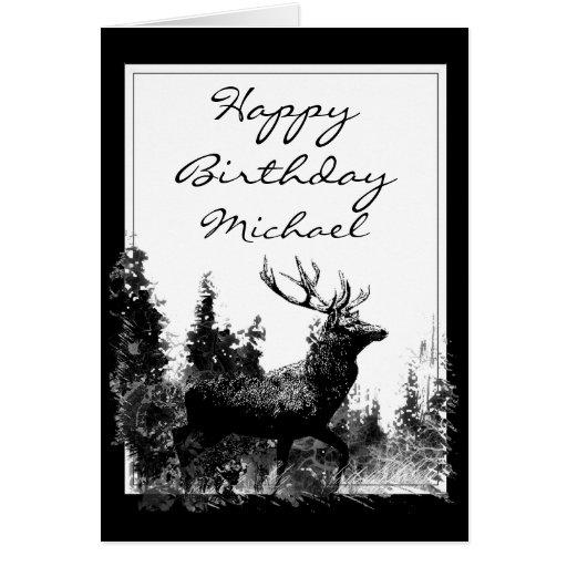 Happy Birthday Custom Name Vintage Stag, Deer Greeting Cards