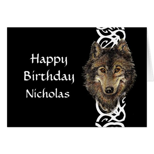 Happy Birthday Custom Name Wild Grey Wolf Head