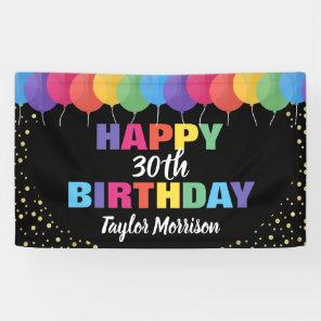 Happy Birthday Custom Year Name Colourful Balloons Banner