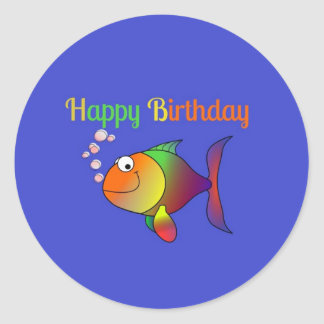 Happy Birthday - Cute and Colorful Cartoon Fish Classic Round Sticker