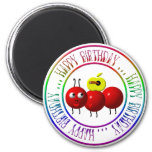 Happy Birthday - Cute ant with apple Refrigerator Magnets