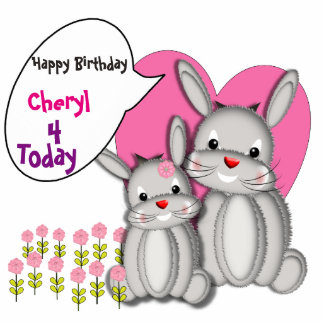 Happy Birthday Cute Bunny Rabbits Party Decor Photo Cutouts