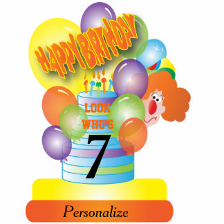 Happy Birthday Cute Cartoon Clown for Kids Standing Photo Sculpture