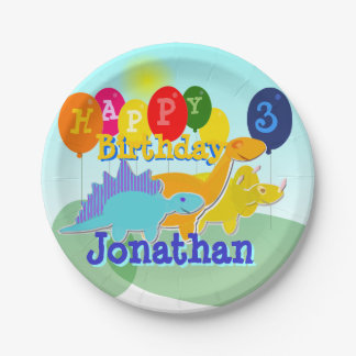 Happy Birthday Cute Cartoon Dinosaurs Balloons Paper Plate