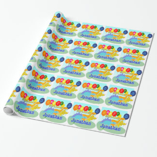 Happy Birthday Cute Cartoon Dinosaurs Balloons Wrapping Paper