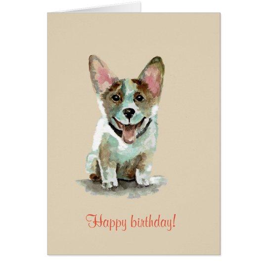 Happy Birthday! Cute Corgi Dog Watercolor Art Card