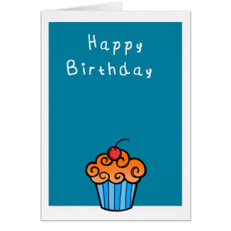 Happy Birthday Cute  cupcake Card