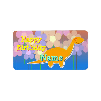 Happy Birthday Cute Dinosaur Gift Label Stickers Address Label