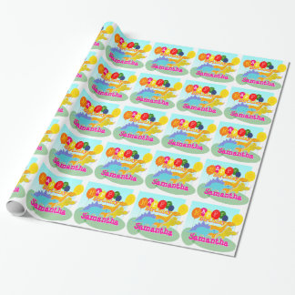 Happy Birthday Cute Dinosaurs Balloons Wrapping Paper