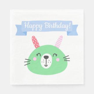 Happy Birthday!   Cute Green Bunny Kids Birthday Paper Napkin