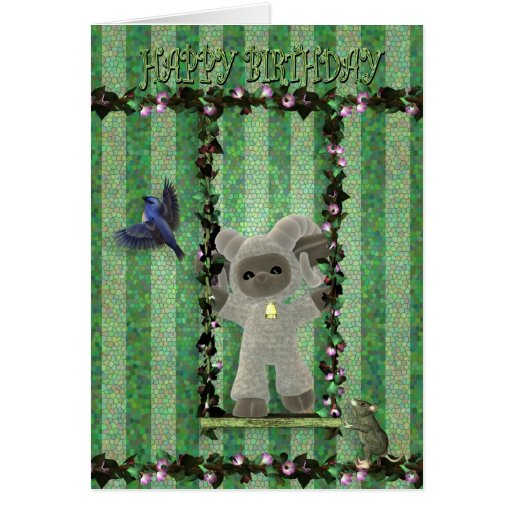 Happy Birthday cute little sheep on a swing Cards