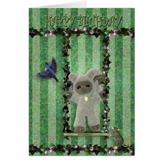 Happy Birthday cute little sheep on a swing Greeting Card