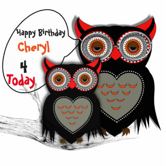 Happy Birthday Cute Mom And Baby Owl Party Decor Standing Photo Sculpture