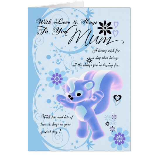 Happy Birthday Cute Mum Card blue flowers cute
