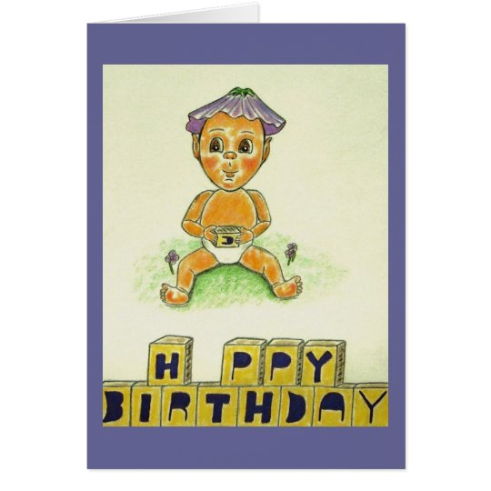 Happy Birthday Cute Orange Figure Card