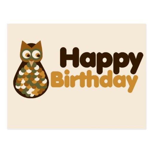 Happy Birthday Cute Owl Design Post Card