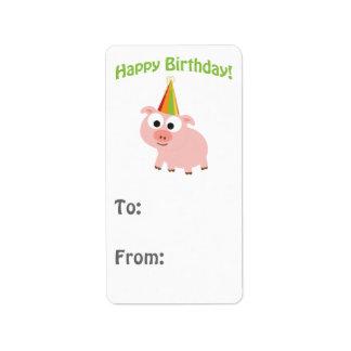 Happy Birthday! Cute Pig Address Label