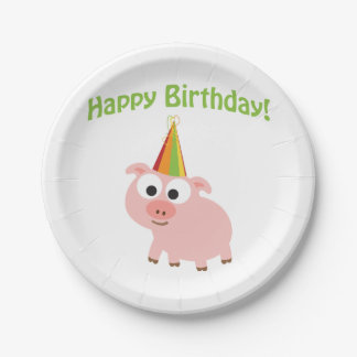 Happy Birthday! Cute Pig Paper Plate