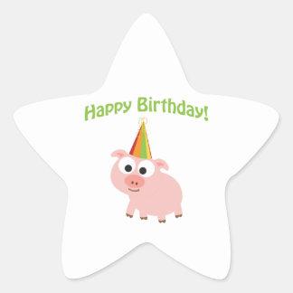Happy Birthday! Cute Pig Star Sticker
