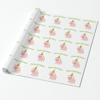 Happy Birthday! Cute Pig Wrapping Paper