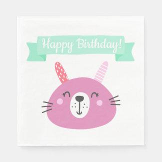 Happy Birthday!   Cute Pink Bunny Kids Birthday Disposable Serviette