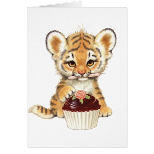 Happy Birthday - Cute Tiger with Cupcake Card