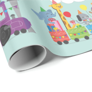 Happy birthday cute zoo animal characters train wrapping paper