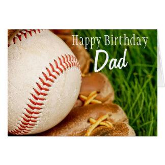Happy Birthday Dad Baseball with Mitt Greeting Card