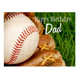 Happy Birthday Dad Baseball with Mitt Postcard