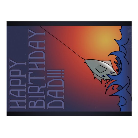 Happy Birthday - Dad Fishing - Postcard
