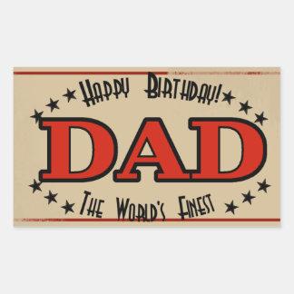 Happy Birthday Dad Label Rectangular Sticker