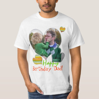 Happy Birthday Dad photo heart t-shirts