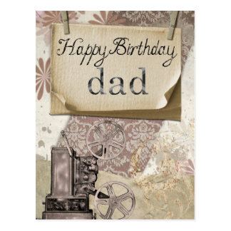 Happy Birthday Dad Retro Postcard