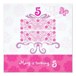 Happy Birthday Daisy Cake 13 Cm X 13 Cm Square Invitation Card