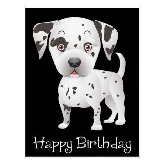 Happy Birthday Dalmatian Puppy Dog Black Postcard