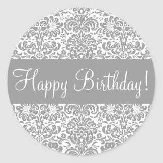 Happy Birthday Damask Envelope Sticker Seal