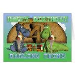 Happy Birthday Darling Twins, pair of cute dragons Card