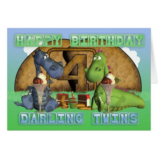 Happy Birthday Darling Twins, pair of cute dragons