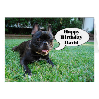 Happy Birthday David French Bulldog Card
