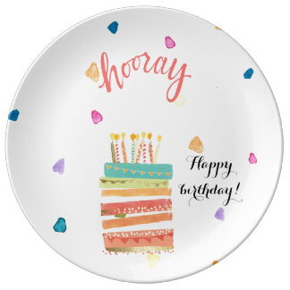 Happy birthday decorative porcelain plate
