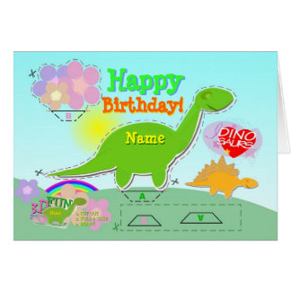 Happy Birthday Dino Name 3D Cut & Fold Craft Card