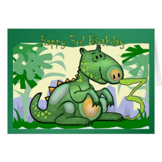 Happy Birthday Dinosaur Card 3rd Birthday