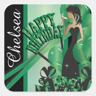 Happy Birthday Diva Girl   DIY Name   Green Square Sticker