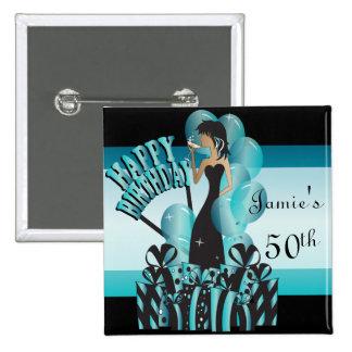 Happy Birthday Diva Girl   DIY Name   Turquoise 15 Cm Square Badge